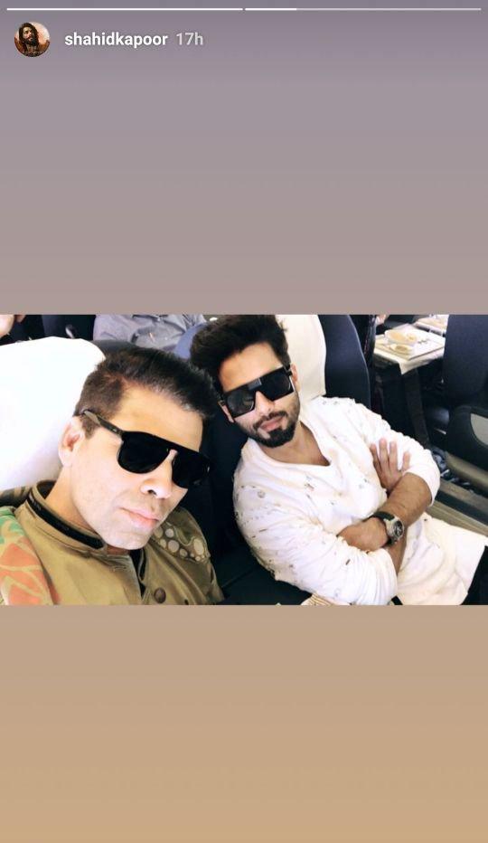 shahid kapoor takes a selfie with karan johar