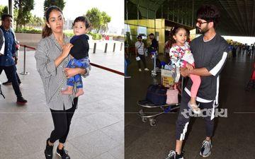 बीवी बच्चों के साथ मुंबई एअरपोर्ट पर स्पॉट हुए शाहिद कपूर, देखिए तस्वीरें