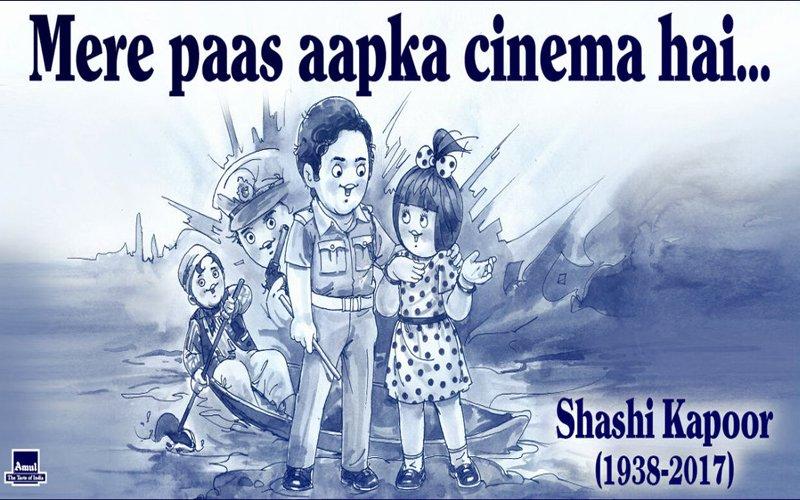 "Amul Pays Tribute To Shashi Kapoor; Says ""Mere Paas Aapka Cinema Hai"""