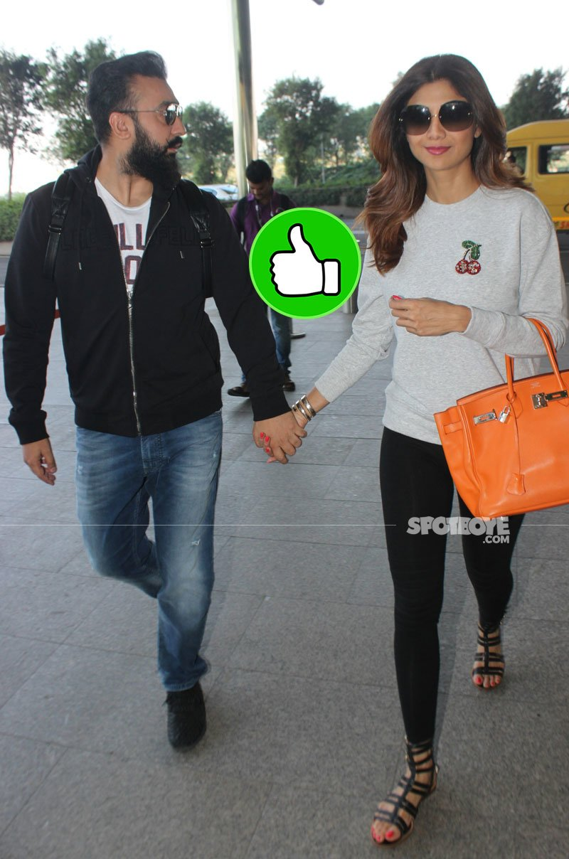 shilpa shetty and raj kundra at airport