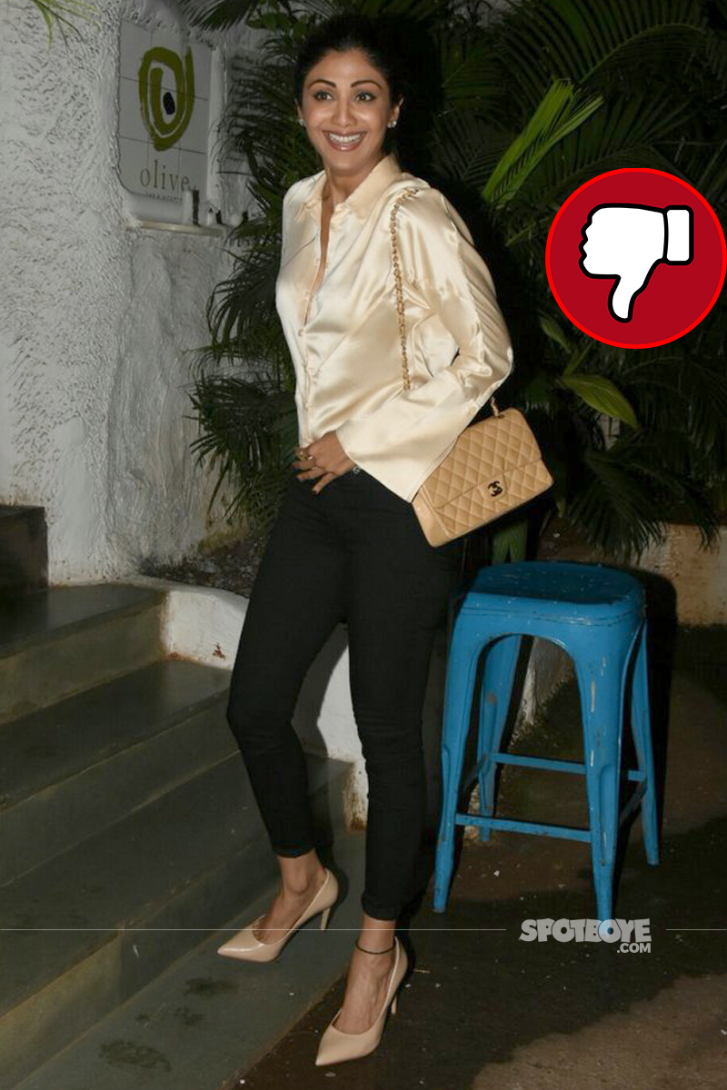 shilpa shetty snapped outside olive in bandra