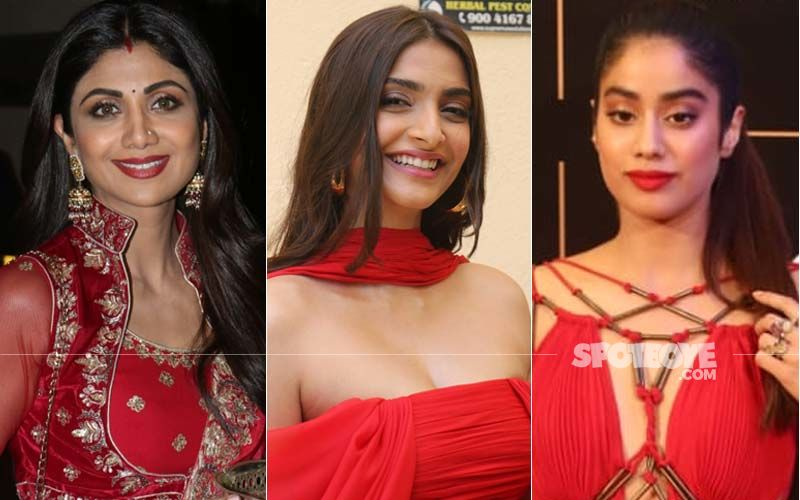 Week's Trending Colour Obsession- RED! Shilpa Shetty, Sonam Kapoor And Janhvi Kapoor Glow In Different Tones Of Red