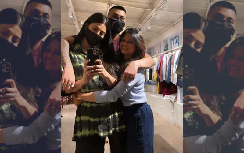 Lovebirds Shruti Haasan And Boyfriend Santanu Hazarika Cuddle Up In This Cute Picture As They Pose With A Costume Designer – PICS Inside