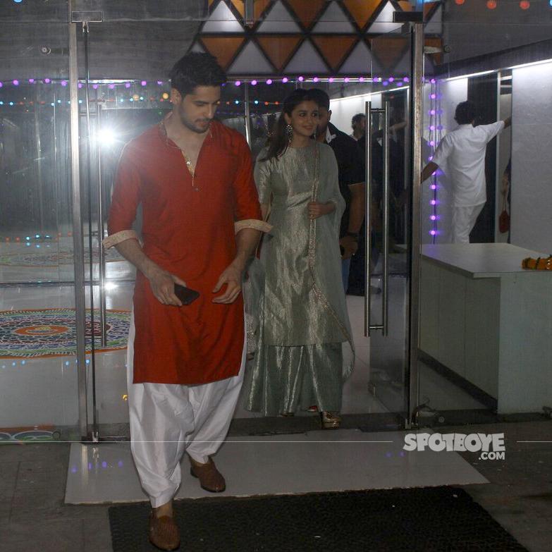 sidharth malhotra and alia bhatt exiting the party