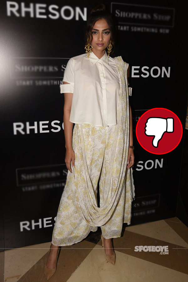 soanm kapoor in a saree palazzos at the launch of rheson at shopper stop