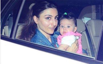 PIC: Soha Ali Khan Takes Baby Inaaya For A Drive