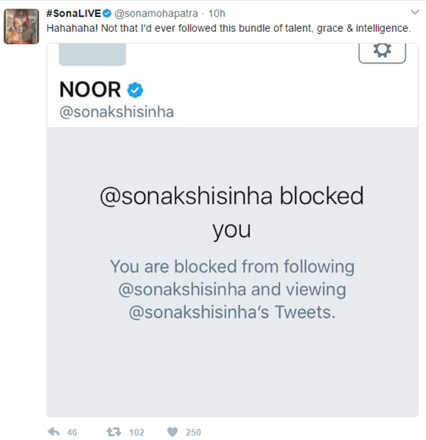 sona mohapatra post the grab of sonakshi sinha blocking her post the justin bieber controversy