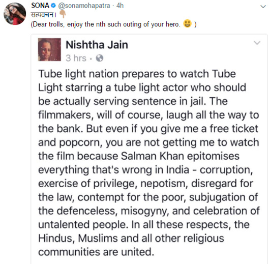 sona mohapatra retweeted to nishtha jain twitter post