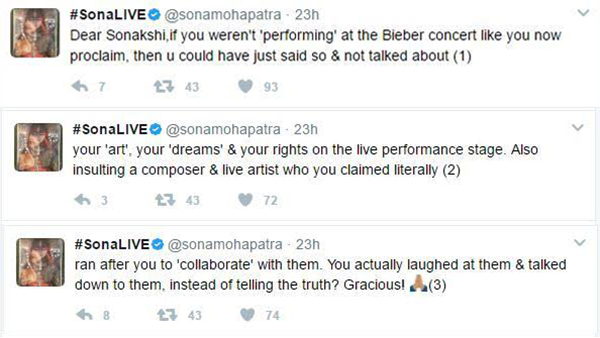 sona mohapatra tweets to sonakshi sinha post the justin bieber controversy