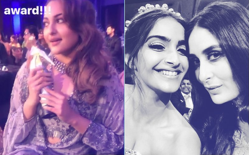 INSIDE MASTI At Filmfare Glamour & Style Awards: Sonakshi STEALS A Designer's Trophy, Sonam-Kareena Share A Moment...