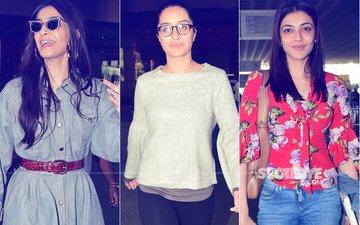 Airport Spotting: Don't Miss Sonam Kapoor, Shraddha Kapoor & Kajal Agarwal's Style Files