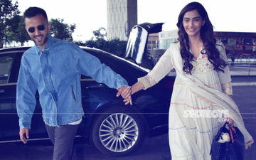 Off To Somewhere Special? Sonam Kapoor & Anand Ahuja Enter Mumbai Airport Holding Hands