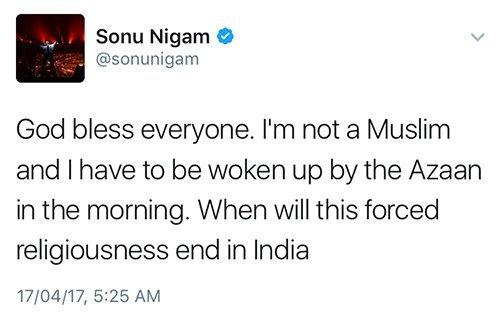 sonu nigams tweet about azaan