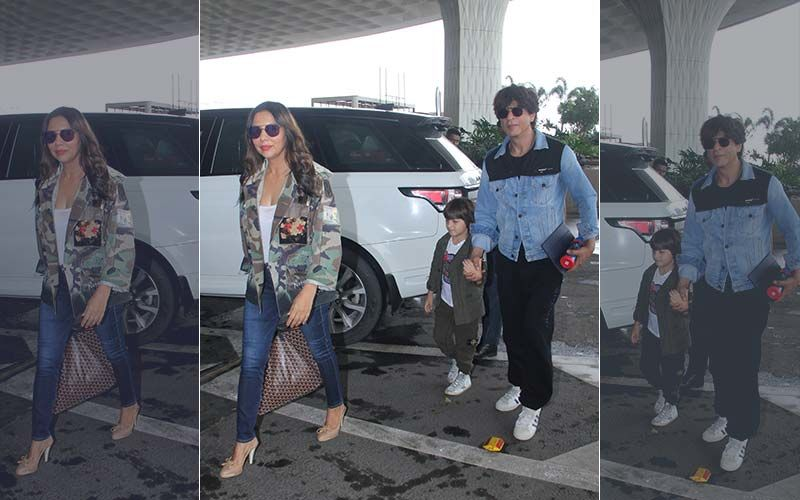 Airport Diaries: Shah Rukh Khan, Gauri Khan And Li'l AbRam Take Off To London To Cheer The Men In Blue