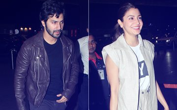 PICS: ALL SMILES, Sui Dhaaga Co-Stars Anushka Sharma & Varun Dhawan Take Off For Bhopal