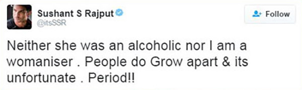 sushant singh rajput tweet about break up