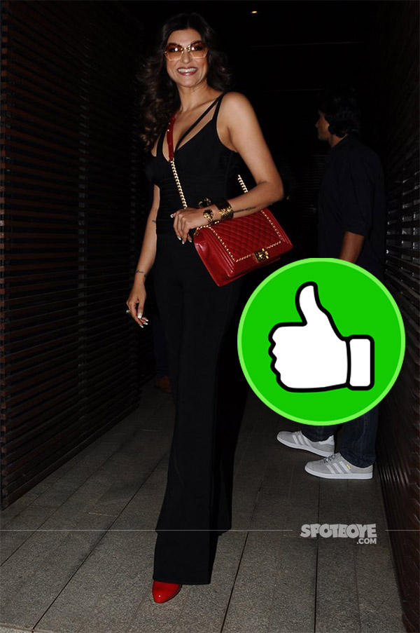 sushmita sen snapped at ventilator success bash in a black jumpsuit and a red sling bag
