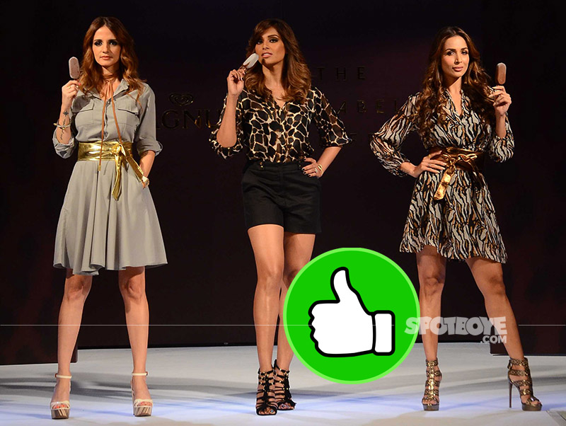 sussanne khan bipasha basu and malaika arora looked sizzle on the ramp with ice-creams in hand at a magnum event