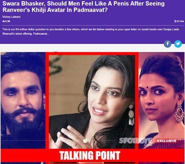 swara bhasker should men feel like a penis after seeing ranveers khilji avatar in padmaavat