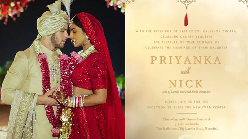 Here Is Priyanka Chopra's Mumbai Wedding Reception Card, Isn't It Lovely?