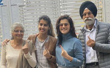 Delhi Assembly Elections: Taapsee Pannu With Family Casts Her Vote; Flaunts Her Inked Finger