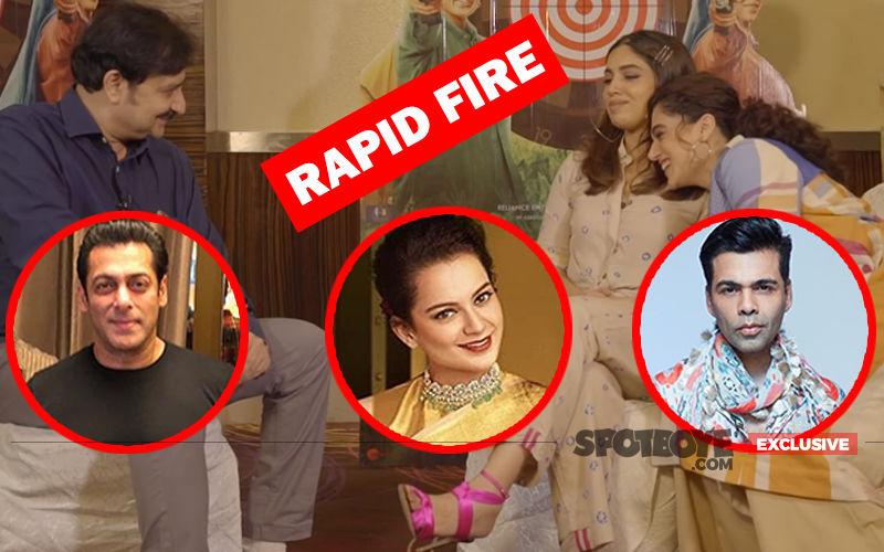 Taapsee Pannu- Bhumi Pednekar Battle It Out In Rapid Fire: What If They Wake Up As Kangana Ranaut, Salman Khan, Karan Johar?- EXCLUSIVE