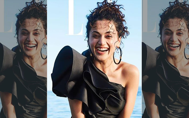Covergirl Taapsee Pannu Takes A Dip In A Black Satin Dress; Internet Is Worried About The Designer Dress Getting Wet