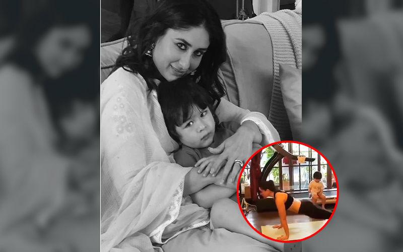 Kareena Kapoor Khan Strikes The Perfect Surya Namaskar, Taimur Sits Atop A Treadmill Watching Mommy In Awe – Video
