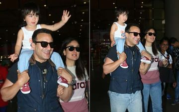 """Taimur Piggybacks On Daddy, Kareena Kapoor Khan Watches Adoringly; Khan Family Returns From London And Here Is Their """"This Is Us"""" Moment"""