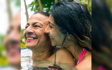 Tanishaa Mukerji Jumps Into A Pool With Mom Tanuja- Pictures  From Daughter-Mother's Andaman Holiday