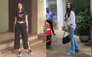 Ananya Panday Promotes Her Campaign, While Tara Sutaria Gets Snapped At A Dubbing Studio