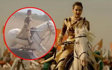 This Jhansi Ki Rani Aka Kangana Ranaut Rode A Fake Horse! Netizens React!!