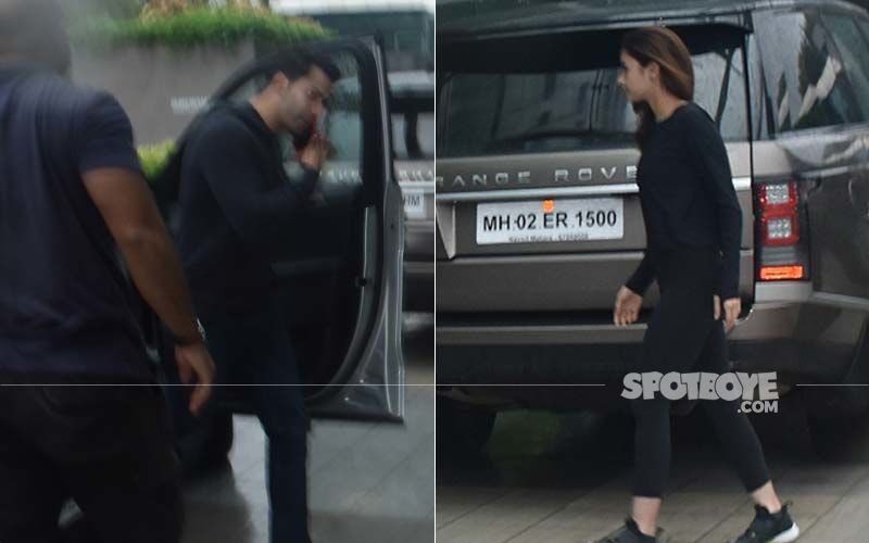Varun Dhawan-Alia Bhatt Twinning In Black As They Get Papped At Karan Johar's Dharma Office