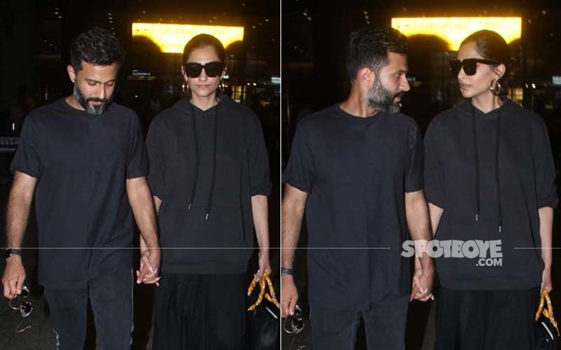 Sonam Kapoor-Anand Ahuja Return From Their Tokyo Honeymoon; Walk Hand-In-Hand At Airport Twinning In Black