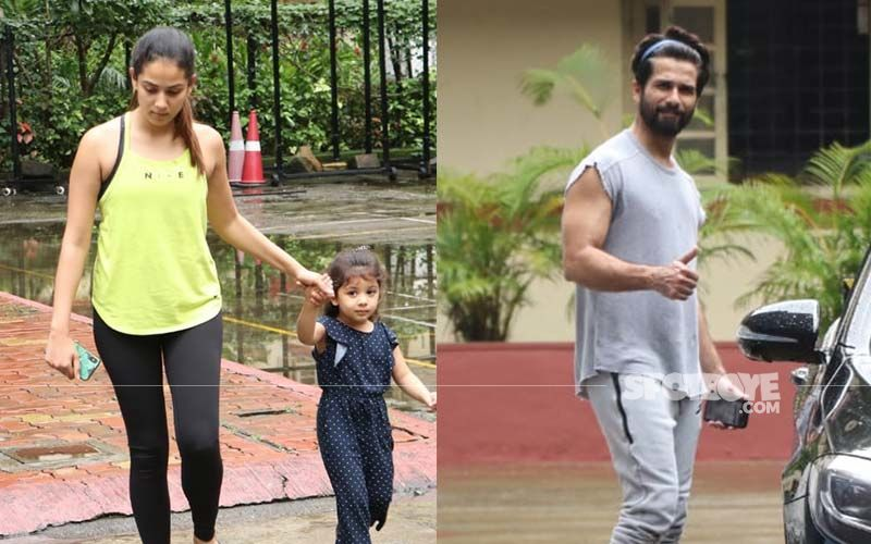 Shahid Kapoor-Mira Rajput Take Li'l Misha To The Gym; Get Snapped As They Exit Together