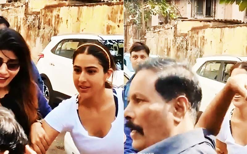 Sara Ali Khan Pulls Back In Shock As A Man Tries To Kiss Her, Security Jumps To Her Rescue-VIDEO