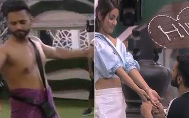 Bigg Boss 14: Rahul Vaidya Dresses Up In Only A Towel To Impress Flower Queen Hina Khan; Leaves The Lady Blushing With His Boyish Charms-WATCH