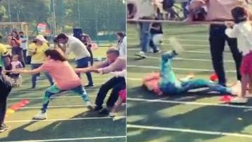Soha Ali Khan Has A Great Fall While Playing Tug Of War On Daughter Inaaya Kemmu's Sports Day; Oops - Watch Video