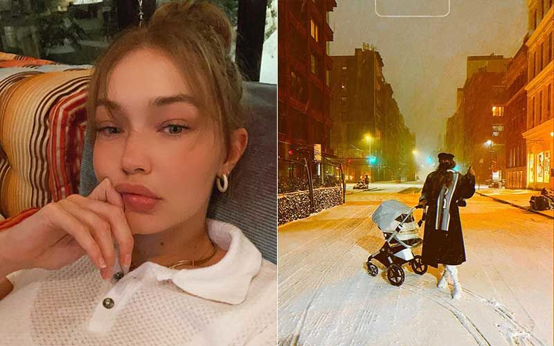 Gigi Hadid And Her Daughter Head Out For A Night Walk On A Snow-Clad NYC Street; Model Looks Chic As She Takes Her Little One To Experience Her 'First Snow'