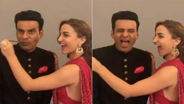 OMG, Elli AvrRam  Rips Off Manoj Bajpayee's Moustache; Actor Cries Out In Pain – VIDEO