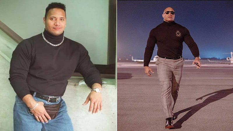 Jumanji The Next Level Premiere: Who Wore The Black Turtle Neck better? 1994's The Rock Or 2019's Dwayne Johnson