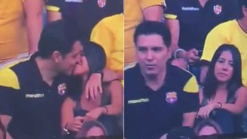 Barcelona Fan Deyvi Andrade Caught Kissing A Girl On Cam During Half-Time; Says He Was Cheating On His Girlfriend