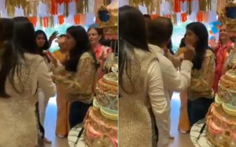Radhika Merchant Celebrates Her Birthday With The Ambani Family And A Giant Cake; Future Daughter-In-Law Feeding Cake To Mukesh Ambani Is Adorbs-WATCH