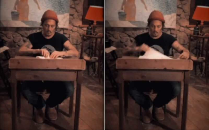 Johnny Depp Styles A Sassy Bra Out Of A Cloth Napkin; Fans Hail Him For His Many Talents - WATCH