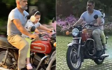 MS Dhoni Enjoys A Bike Ride On His Restored Bike With Daughter Ziva Dhoni; Wife Sakshi Dhoni Shares A Sneak-Peek