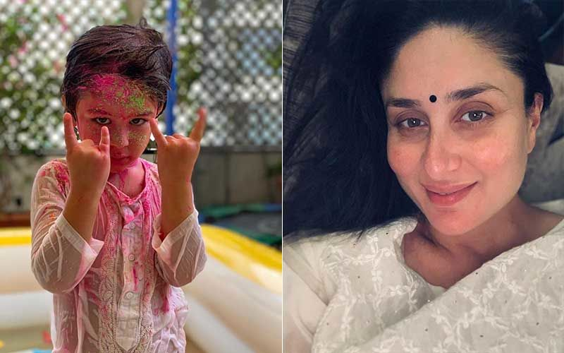 Holi 2021: Smeared With Gulal, Taimur Ali Khan Does A 'Rock On' Sign While Posing For The Camera; Kareena Kapoor Khan Says 'Stay Safe People'