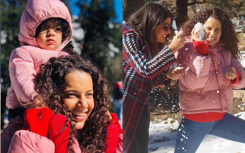 Kangana Ranaut Spends Diwali 2018 With Little Nephew Prithvi Raj In Snowy Manali
