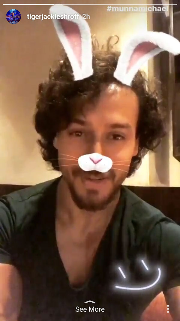 tiger shroff uses the bunny filter on instagram