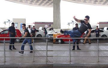 एअरपोर्ट पर टाइगर श्रॉफ का ये स्टंट देख मजा आ जाएगा आपको, देखिए तस्वीरें