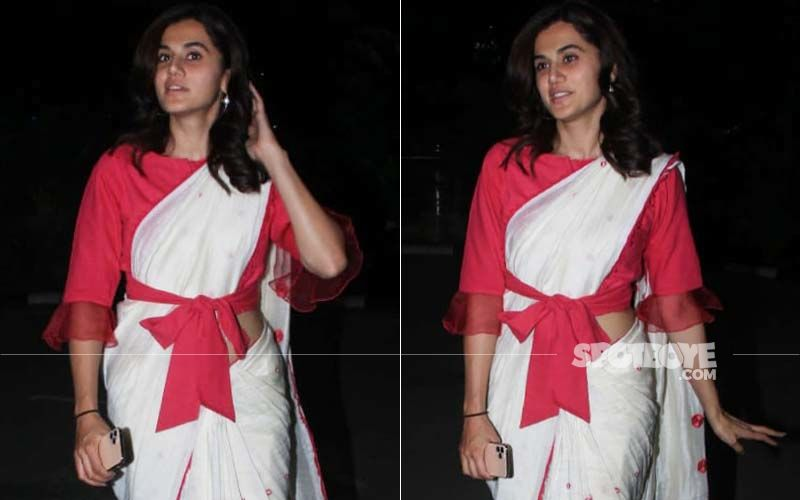 Taapsee Pannu Gives A KNOTTY Twist To The Red-And-White Saree; Bookmarked For Pujo Night